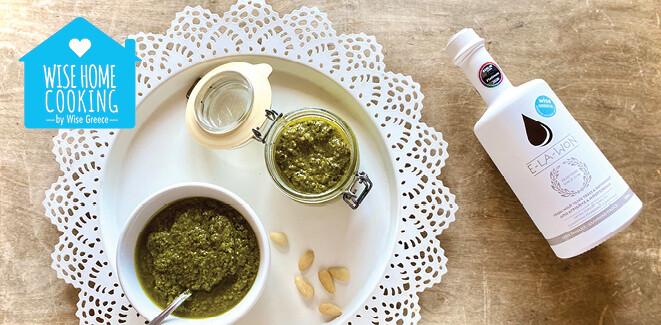 Wise Home Cooking: Σπιτικό pesto βασιλικού με αμύγδαλα