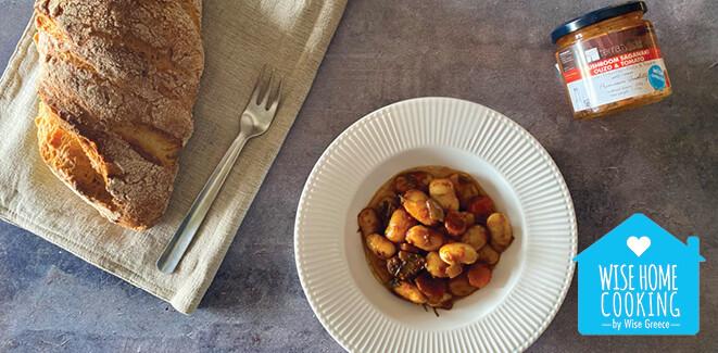 Wise Home Cooking: Γίγαντες στο φούρνο με Μανιτάρια και Ούζο